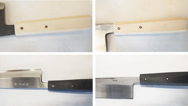 「HACCP対応」衛生樹脂柄は和包丁の中子には穴をあけて、ステンレスのネジ止めしていますので抜けてしまうことはありません