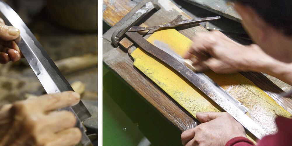 伝統技法を使って作られる包丁の製造工程